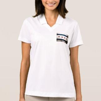 Black Grunge Chicago Flag Polo T-shirt