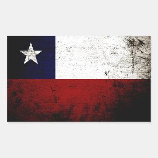 Black Grunge Chile Flag Rectangular Sticker