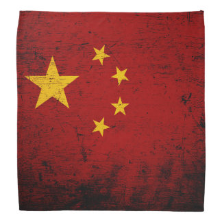Black Grunge China Flag Bandannas
