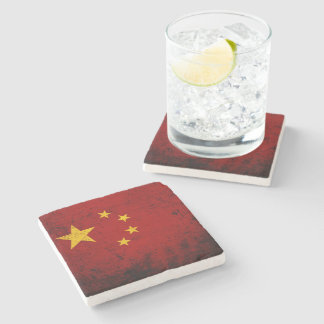 Black Grunge China Flag Stone Coaster