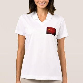 Black Grunge China Flag Polo Shirt