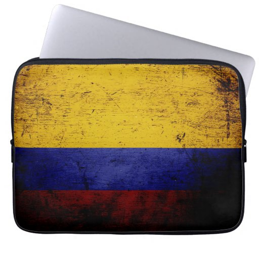 Black Grunge Colombia Flag Computer Sleeves