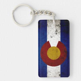 Black Grunge Colorado State Flag Double-Sided Rectangular Acrylic Key Ring