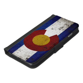 Black Grunge Colorado State Flag iPhone 6/6s Plus Wallet Case