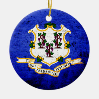 Black Grunge Connecticut State Flag Christmas Tree Ornament