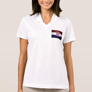 Black Grunge Croatia Flag Polo T-shirts