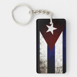 Black Grunge Cuba Flag Double-Sided Rectangular Acrylic Key Ring