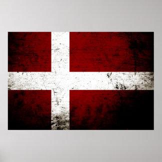 Black Grunge Denmark Flag Poster