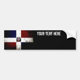Black Grunge Dominican Republic Flag Bumper Sticker