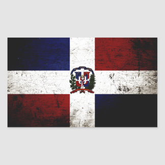 Black Grunge Dominican Republic Flag Rectangular Sticker