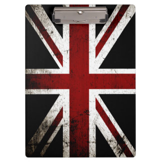 Black Grunge England Flag 3 Clipboard