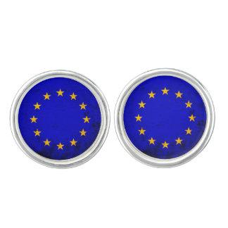 Black Grunge European Union Flag Cufflinks