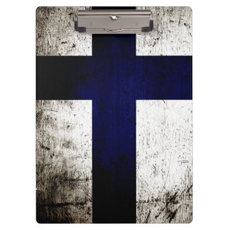 Black Grunge Finland Flag Clipboard