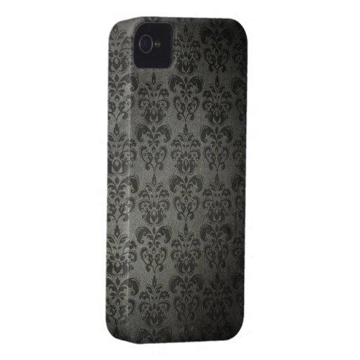 Black Grunge Floral Damask Gothic iPhone 4s Case iPhone 4 Case
