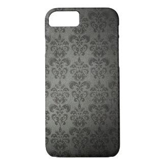 Black Grunge Floral Damask Gothic iPhone 7 case