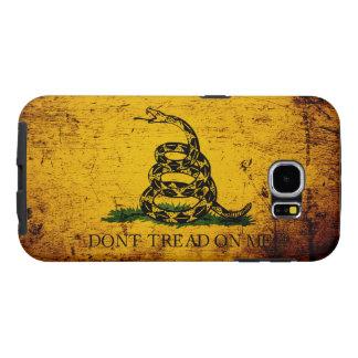 Black Grunge Gadsden Flag Samsung Galaxy S6 Cases
