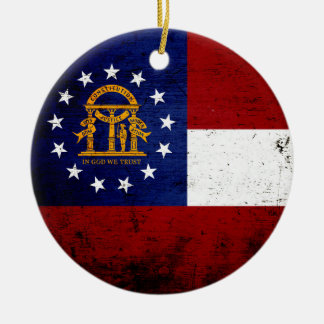 Black Grunge Georgia State Flag Christmas Ornament