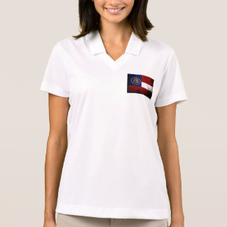 Black Grunge Georgia State Flag Polo Shirt