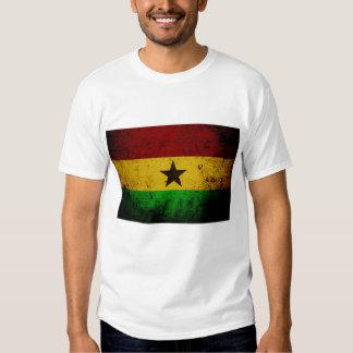 Black Grunge Ghana Flag T Shirts