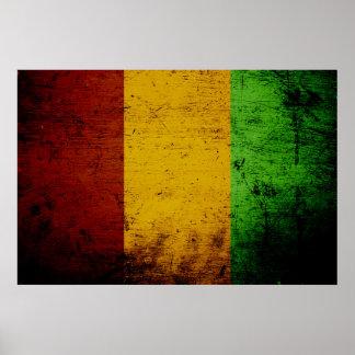 Black Grunge Guinea Flag Poster