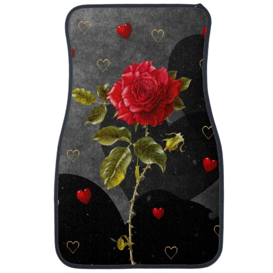 Black Grunge Hearts with Red Rose Car Mat