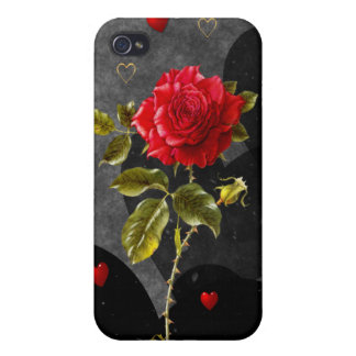 Black Grunge Hearts with Red Rose Cover For iPhone 4