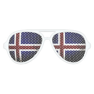 Black Grunge Iceland Flag Aviator Sunglasses