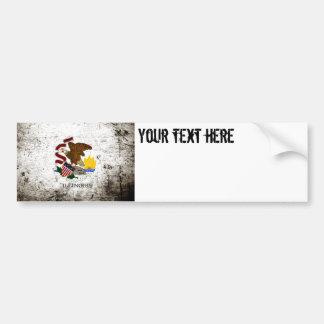 Black Grunge Illinois State Flag Bumper Sticker
