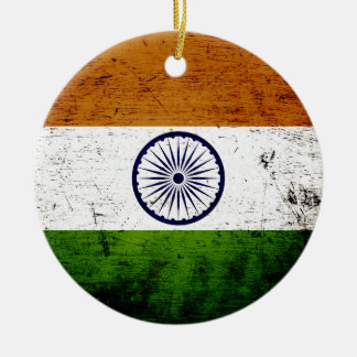 Black Grunge India Flag Christmas Ornament