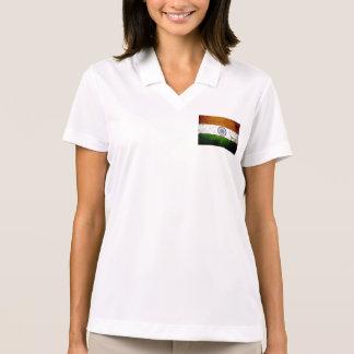 Black Grunge India Flag Polo Shirts