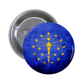 Black Grunge Indiana State Flag 6 Cm Round Badge