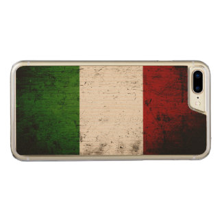Black Grunge Italy Flag Carved iPhone 8 Plus/7 Plus Case