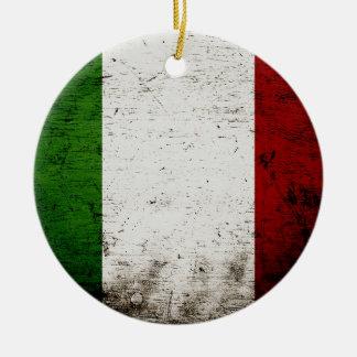 Black Grunge Italy Flag Christmas Ornament