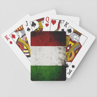 Black Grunge Italy Flag Playing Cards