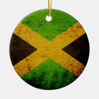 Black Grunge Jamaica Flag Christmas Ornament