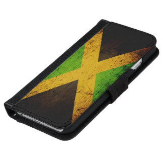 Black Grunge Jamaica Flag iPhone 6 Wallet Case