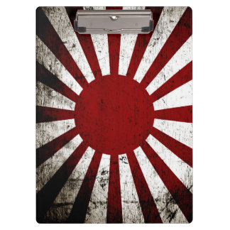 Black Grunge Japan Rising Sun Flag Clipboard