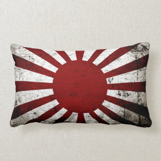 Black Grunge Japan Rising Sun Flag Lumbar Cushion