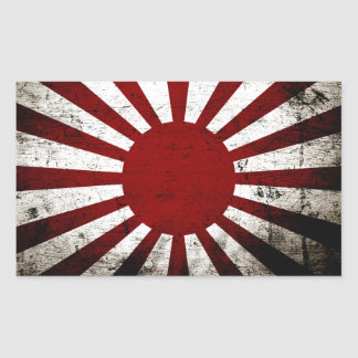 Black Grunge Japan Rising Sun Flag Rectangular Sticker