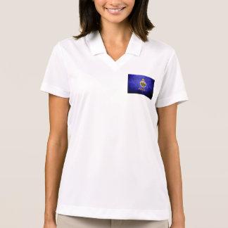 Black Grunge Kansas State Flag Polo Shirt