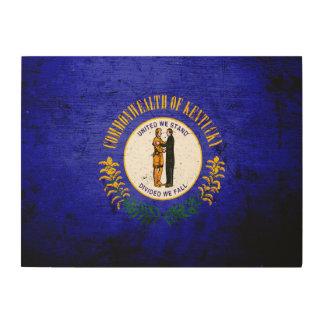 Black Grunge Kentucky State Flag Wood Print