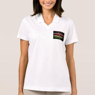 Black Grunge Kenya Flag Polo Shirts