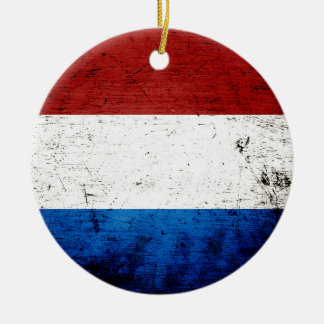 Black Grunge Luxembourg Flag Christmas Ornament