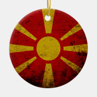 Black Grunge Macedonia Flag Christmas Ornament