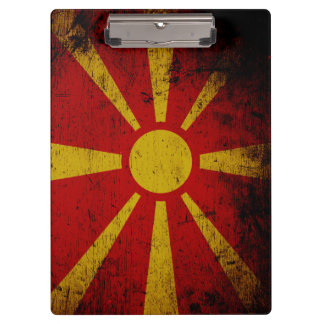 Black Grunge Macedonia Flag Clipboard