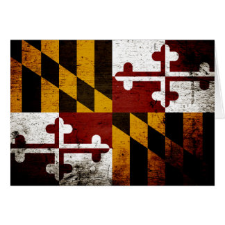 Black Grunge Maryland State Flag Card
