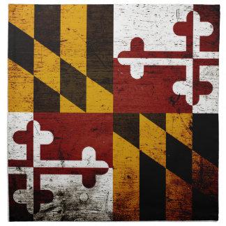Black Grunge Maryland State Flag Napkin