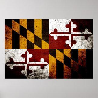 Black Grunge Maryland State Flag Poster
