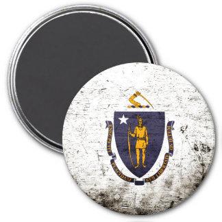 Black Grunge Massachusetts State Flag Refrigerator Magnet