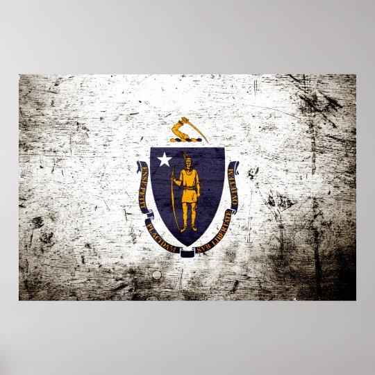 Black Grunge Massachusetts State Flag Poster